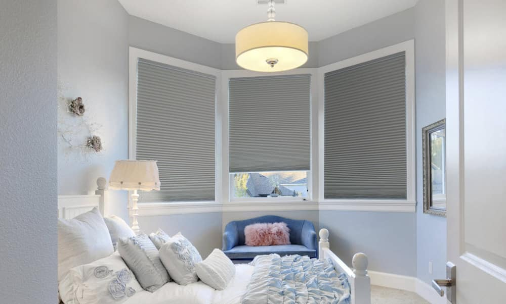 White Cellular Blinds In The Bedroom