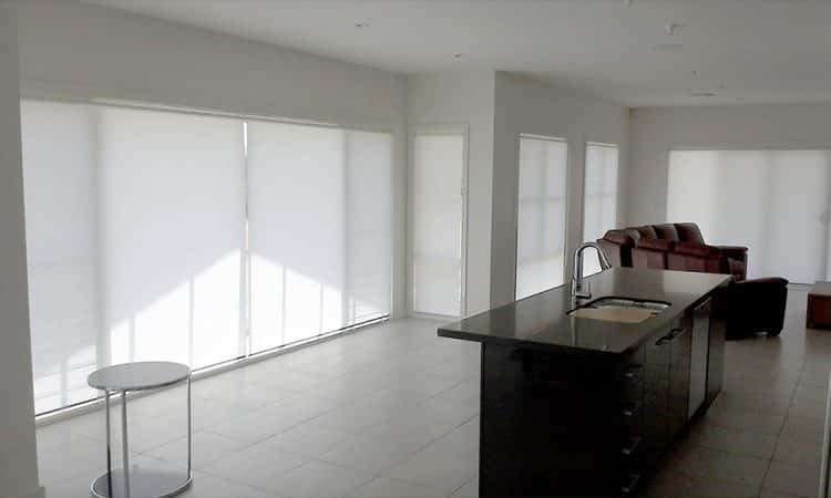 White Roller Blinds In The Kitchen