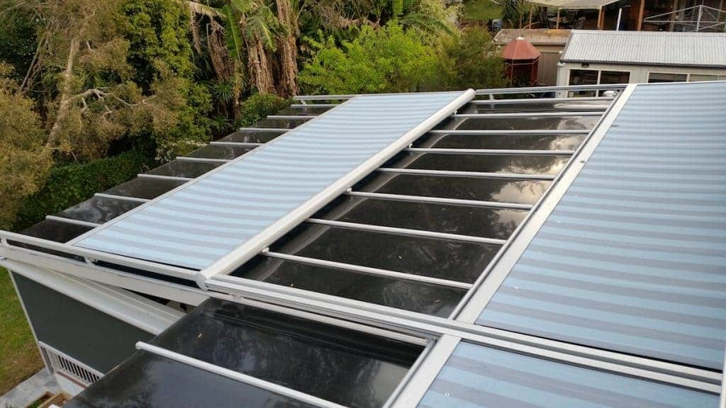 Top View of Striped blue Markilux Awning