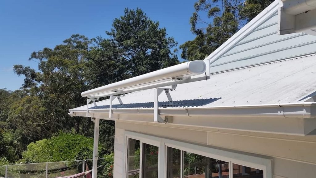 Retracted White Markilux Awning