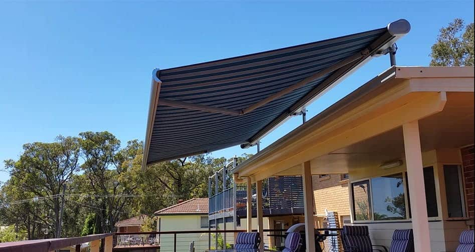 Striped Open Markilux Awning